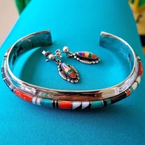 Native American sterling micro inlay cuff Bracelet